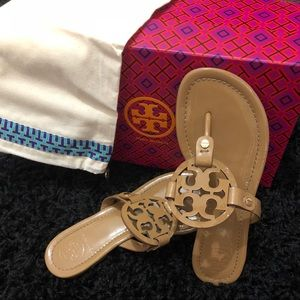 "474c713bfcc8d8 Tory Burch ""Miller"" Color-""Sand"" Patent Leather"